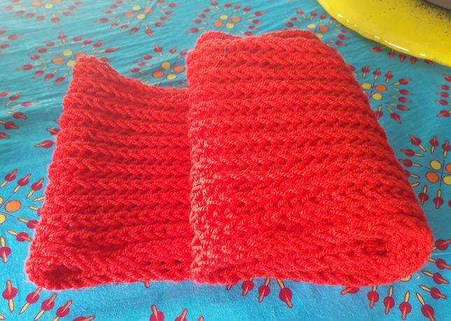 Komin szal na szyję czerwony ręcznie robiony nowy na prezent tani