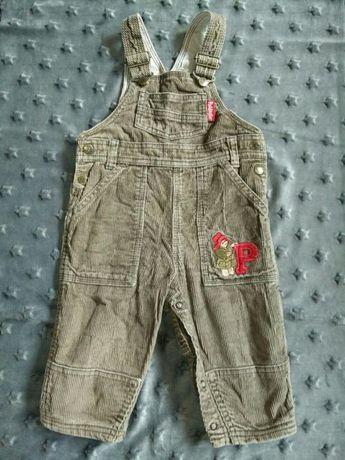 Paddington Ogrodniczki spodnie szelki sztruks 6-9 74 80 h&m