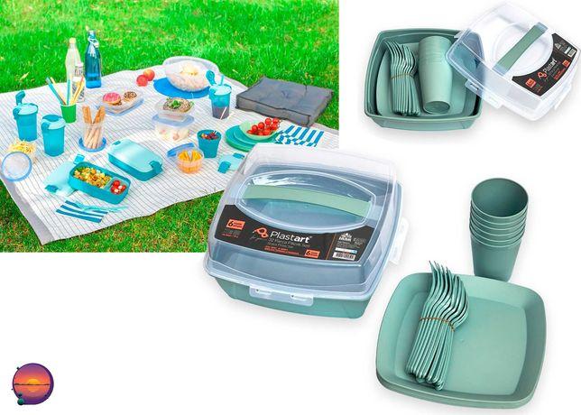 Набор пластиковой посуды для пикника, походов и отдыха 32 предмета