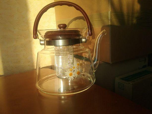 Чайник из жаропрочного стекла новый 2,4литра