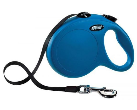 Trela extensível para cão - Flexi New Classic com fita (Azul)