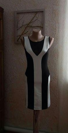 Черно-белое платье, сукня коктейльна, платье стрейч