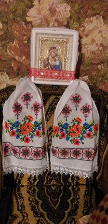 Рушник вишитий весільний, резинки для образків