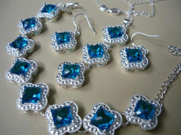 Wyprzedaż ! Komplet biżuterii pr.925 niebieski