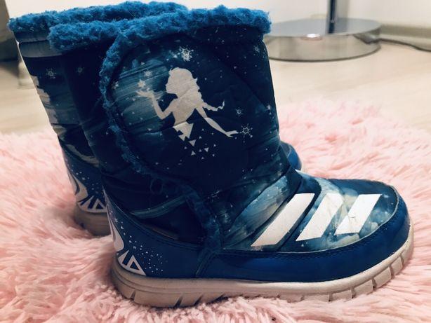 Buty zimowe ADIDAS dla dziewczynki rozmiar 27, kraina lodu ocieplane