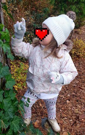 Jesienna kurtka ocieplana zwierzęta leśne plus czapka H&M