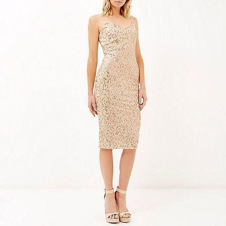 RIVER ISLAND sukienka midi złota GOLD 38 ołówkowa PARTY DRESS