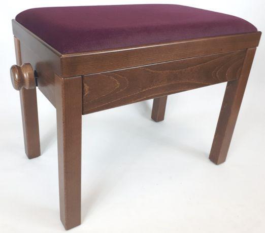 Ława drewniana do pianina SONATA ciemny orzech, welur fiolet E-KALI
