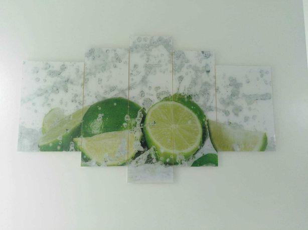 Tryptyk szklany obraz na ścianę limonki