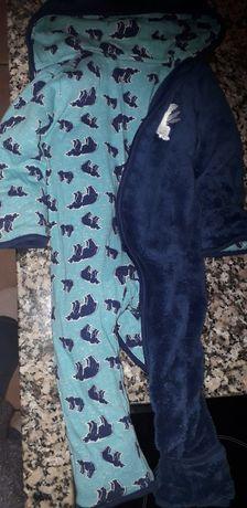 Babygrow pijama azul reversível urso mt quentinho 0-6 meses