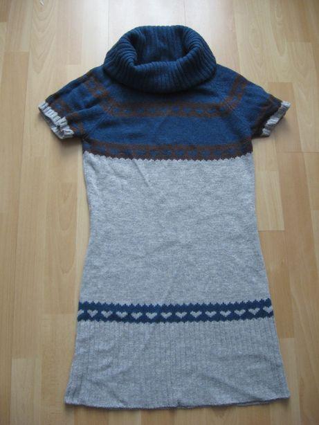 Szaro-niebieska wełniana tunika ICHI roz. S