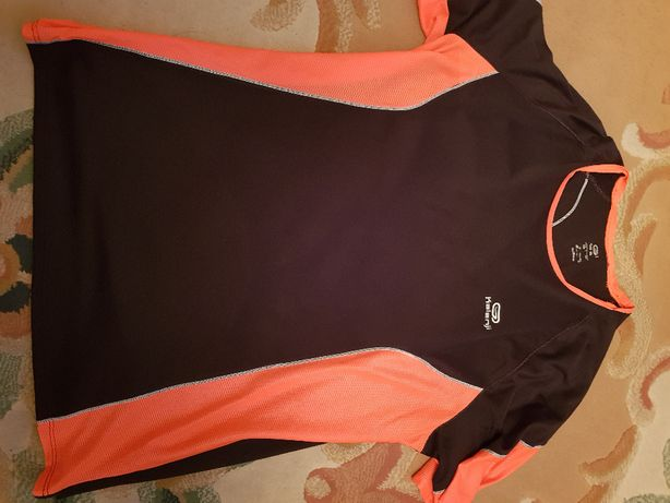 Koszulka sportowa Decathlon czarno-pomarańczowa roz. L
