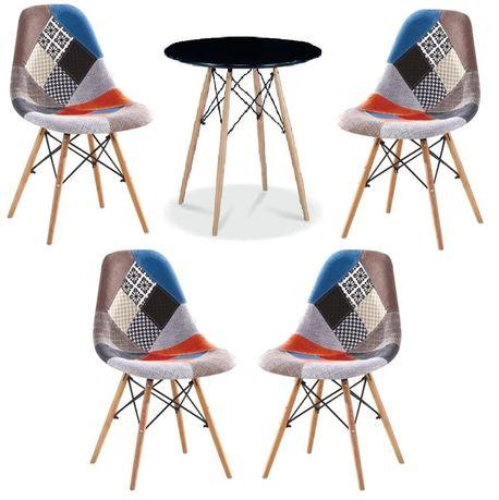 Zestaw stół okrągły czarny i 4 krzesła patchwork Simon A