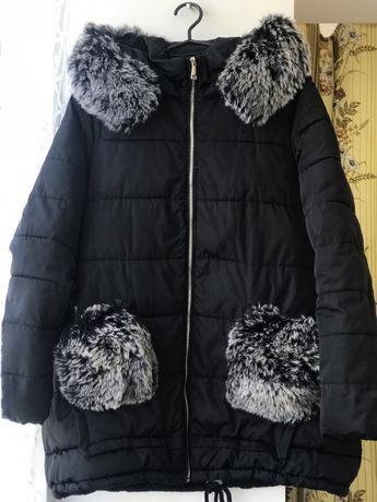 Куртка зимова, пуховик з хутром