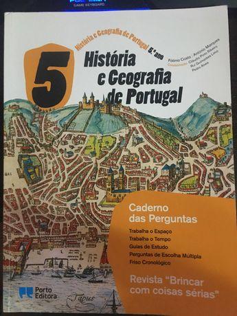 Caderno Perguntas História Geografia de Portugal 5.º Ano oferta Portes