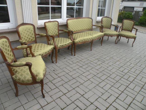Sofa 2 osobowa i 5 foteli w Stylu Ludwika .