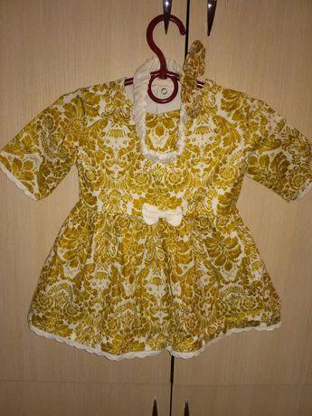 Платье на годик с  повязочкой