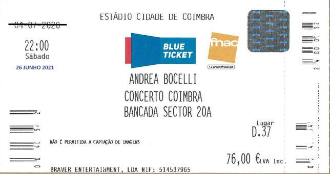 Bilhete Concerto Coimbra ANDREA BOCELLI 26 JUNHO 2021