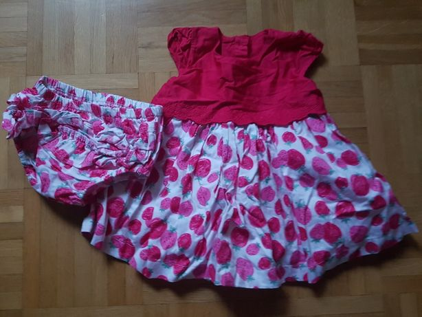 Jak NOWY 0-3 mcy komplet komplecik sukienka majtki urocze 100% bawełna