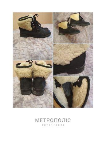 Зимові 36р.-23,5см сапожки шкіра, зимние ботинки, сапоги кожа