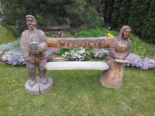 Ławka rzeźba ludowa