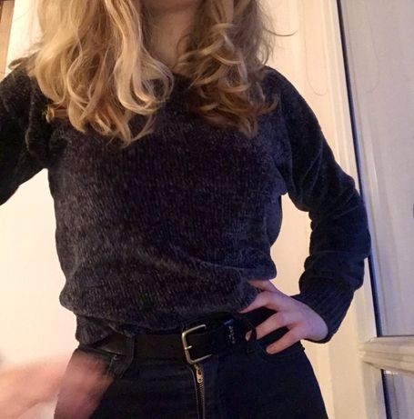 Szary welurowy sweter New Look