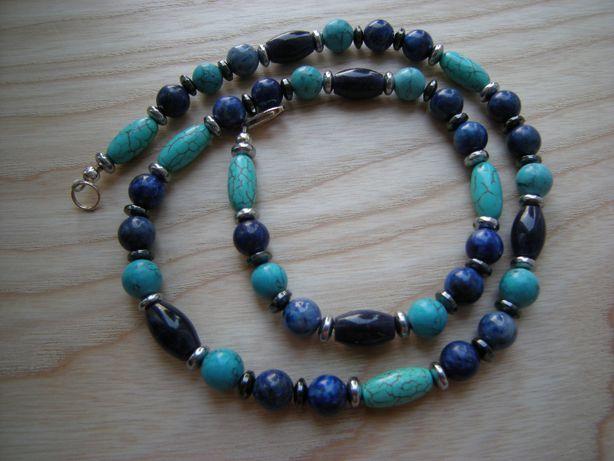 naszyjnik męski 53cm turkmenit hematyt lapis lazuli