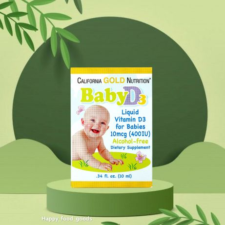California Gold Nutrition, Витамин D-3 в каплях для младенцев, 400 IU,