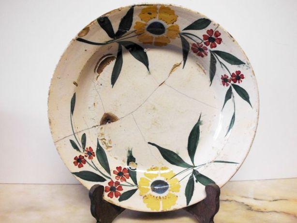 lindo, raro antigo prato em faiança portuguesa do Norte - com gatos