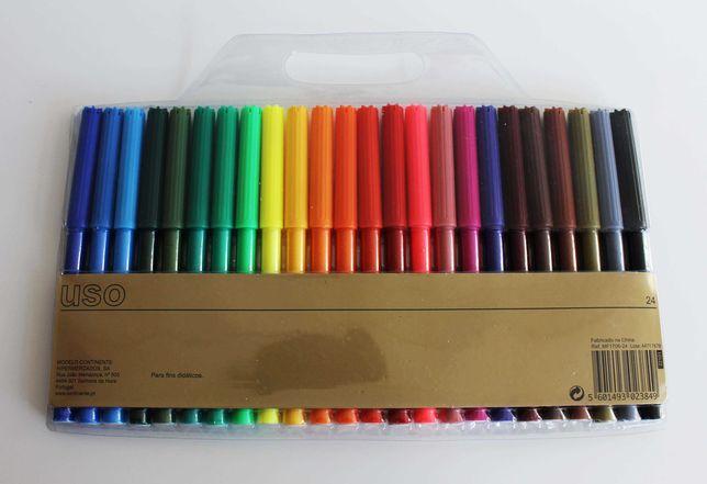 24 Canetas de filtro / marcadores para colorir (NOVAS E SELADAS)