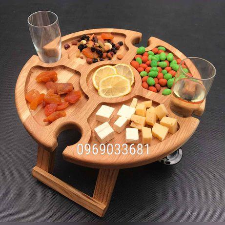 Винний столик дуб.еко посуд.менажниці.винний столик серце.деревяний.