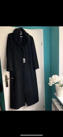 Czarny długi płaszcz o prostym kroju m 38 70% wełna i 10% kaszmir nowy