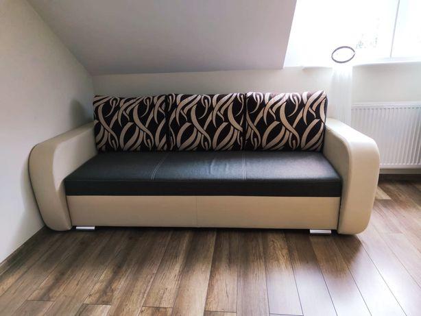 Sofa kanapa duża wygoda rozkładana ekoskóra beżowa brązowa Super Stan!
