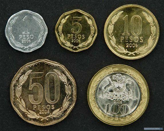 Набор монет 1, 5, 10, 50, 100 песо 2006 Чили