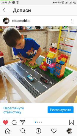 Детский игровой развивающий столик ЛЕГО LEGO дерево стол песочница
