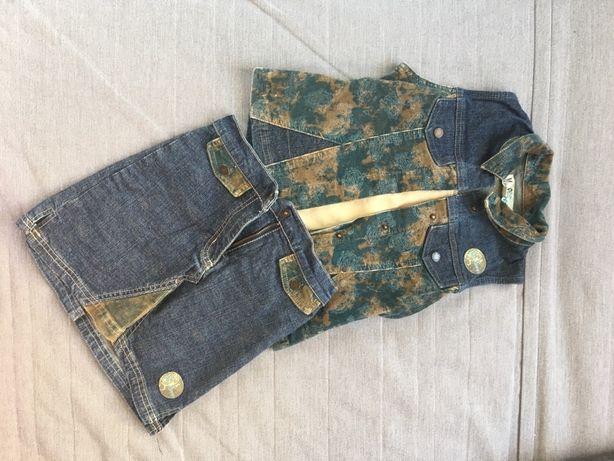 Zestaw kamizelka spódniczka dżinsowa jeansowa moro 6 lat 116 122