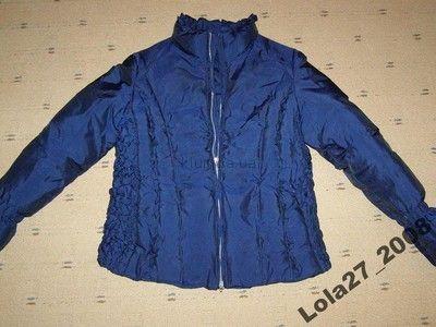 Стильная молодежная куртка-пуховик синего цвета, S-ка