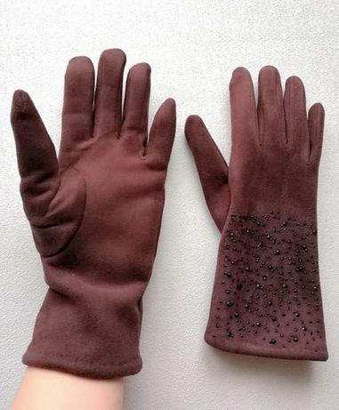 Rękawiczki eleganckie ocieplane sztrasy cekiny Brązowe czekoladowe