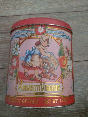 Stara puszka po ciastkach Amaretti Virginia dal 1860 Italy