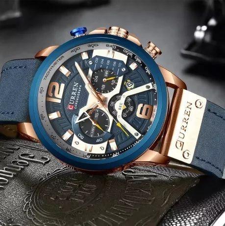 Наручные часы CURREN 8329 (новые) синие с золотом