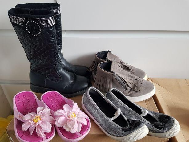 Zestaw butów kozaki botki klapki kapcie rozmiar 31