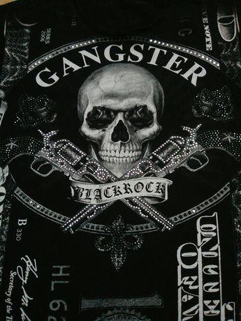 Black Rock Gangster Череп и Пистолеты со Стразами Унисекс Футболка
