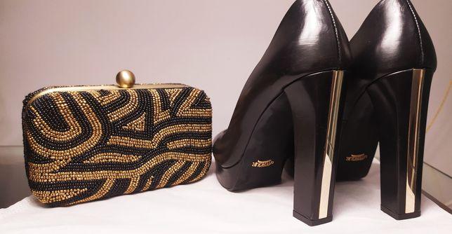 Conjunto de sapatos pele Uterque e Clutch El Corte Inglês
