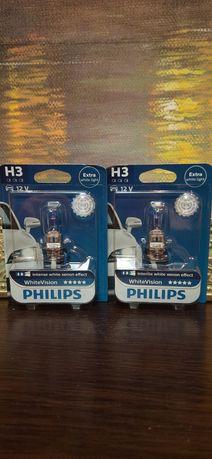 Лампа галогенная Philips H3 WhiteVision +60%, 3700K,
