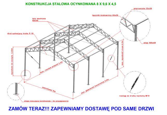 Konstrukcja 8x10 stalowa ocynkowana magazyn hala wiata garaż warszta