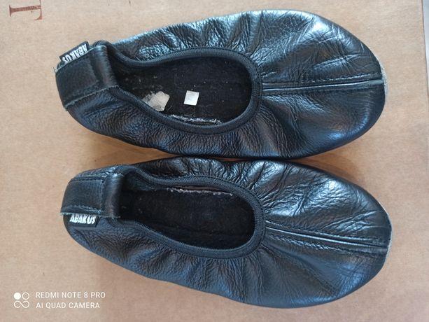 Czarne skórzane baletki Abakus, długość wkładki 18,5 cm