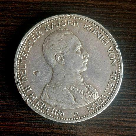 Серебряная монета Вильгельм II 5 марок 1913 Пруссия Немецкая Империя
