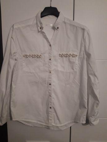biała koszula bluzka święta szkoła dla dziewczynki perełki 146/152