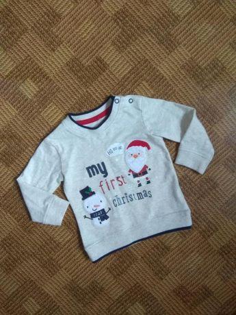 Кофта свитшот джемпер свитер новогодний george возраст 3-6мес