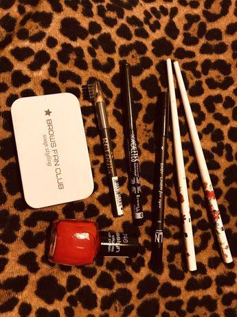 Лот: мыло для фиксации бровей, карандаши, лак, палочки для волос